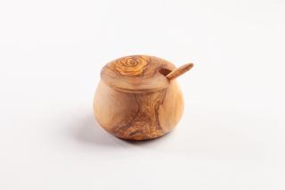 Zuckerdose mit Löffel bombiert, ca. 10 cm.