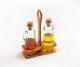 Essig / Öl Menage aus Olivenholz