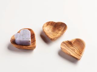 Seifenschale aus Olivenholz, Herzform -mini-