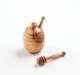 Honigtopf aus Olivenholz, mit Honigheber klein, m. Rille