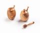 Honigtopf aus Olivenholz mit Honigheber klein, glatt