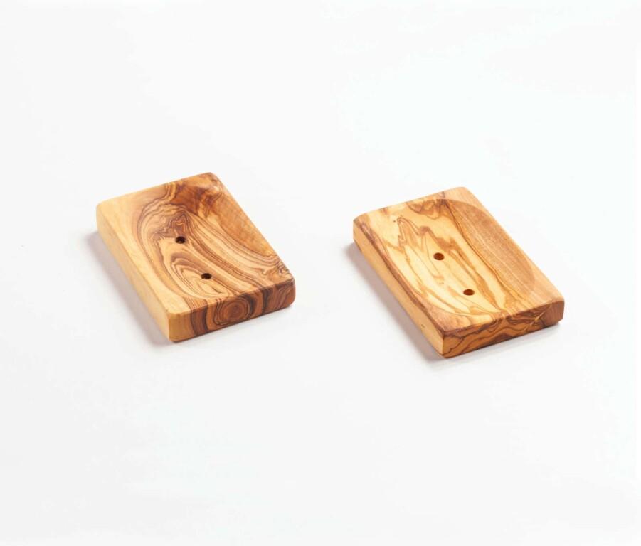 Seifenablage aus Olivenholz, eckig flach ca.11 x 7 x 1,5cm.